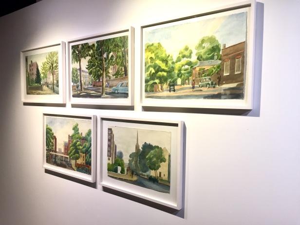 Josef Frank målade många akvareller på äldre dagar. Här syns några med Londonmotiv.